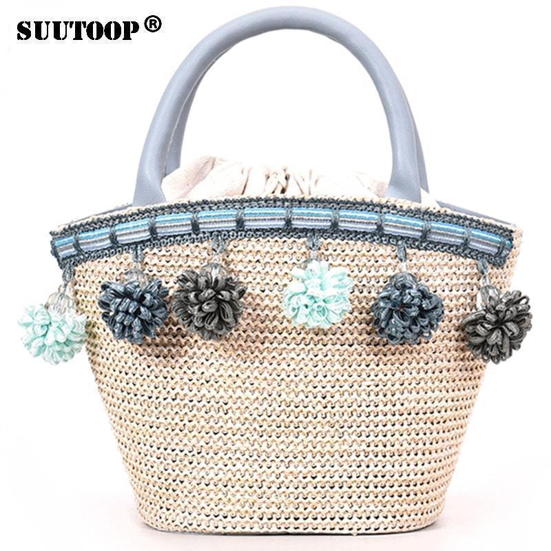 SUUTOOP Nice Women Small Straw Bucket Handbag Tassel Messenger Shoulder Bags  For Girls Lady Vintage Summer Beach Crossbody Bag Handbag Sale Side Bags  From ... 571c28717c29e