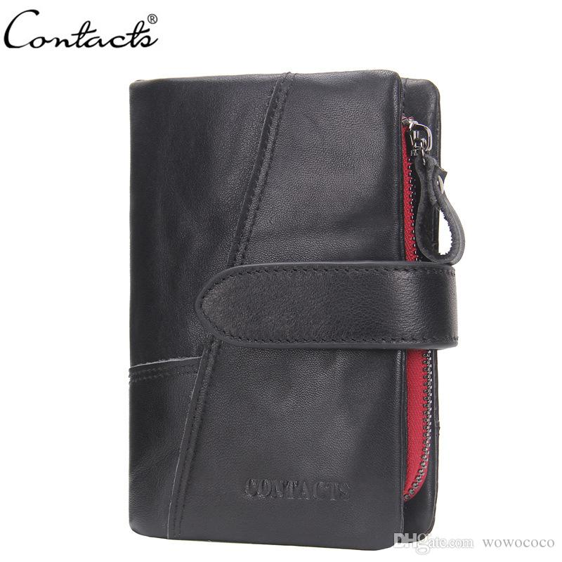 e7d2888cd CONTACTS Genuine Leather Trifold Men Wallets Cow Leather Multifunctional  Short Wallet Card Holder Coin Bag Hasp Detachable X441 Italian Leather  Wallets ...