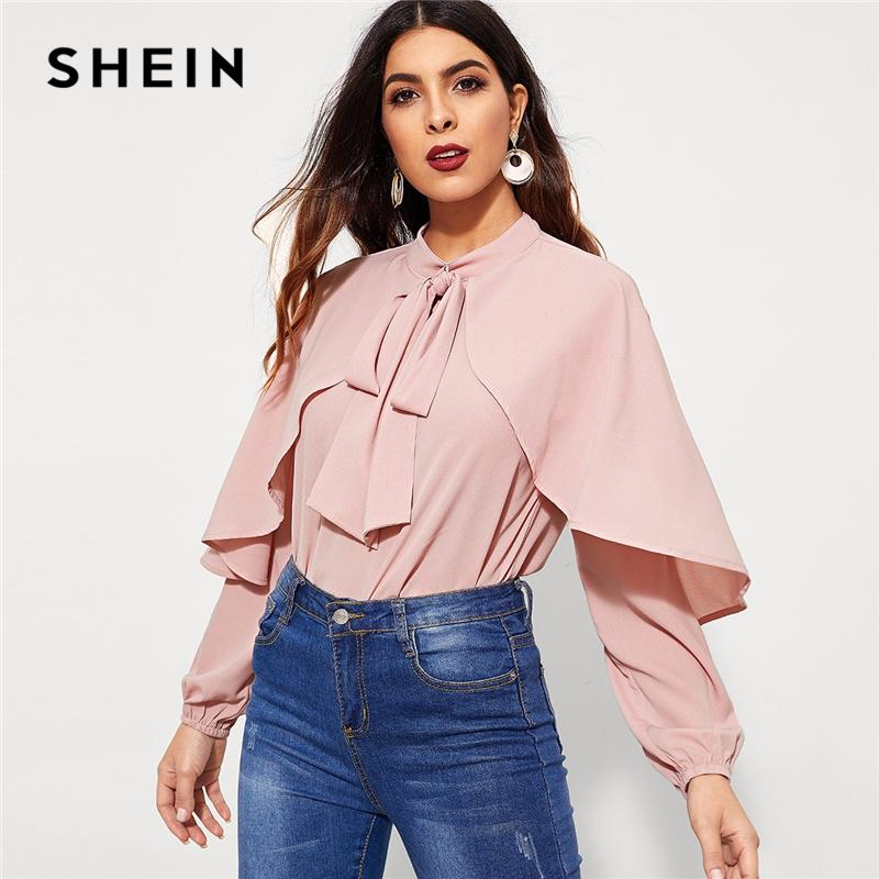 ce2f8121b67a74 2019 SHEIN Pink Tie Neck Keyhole Back Top Elegant Workwear Stand Collar Long  Sleeve Blouse 2018 Autumn Women Plain Tops And Blouses From Elizabethy, ...