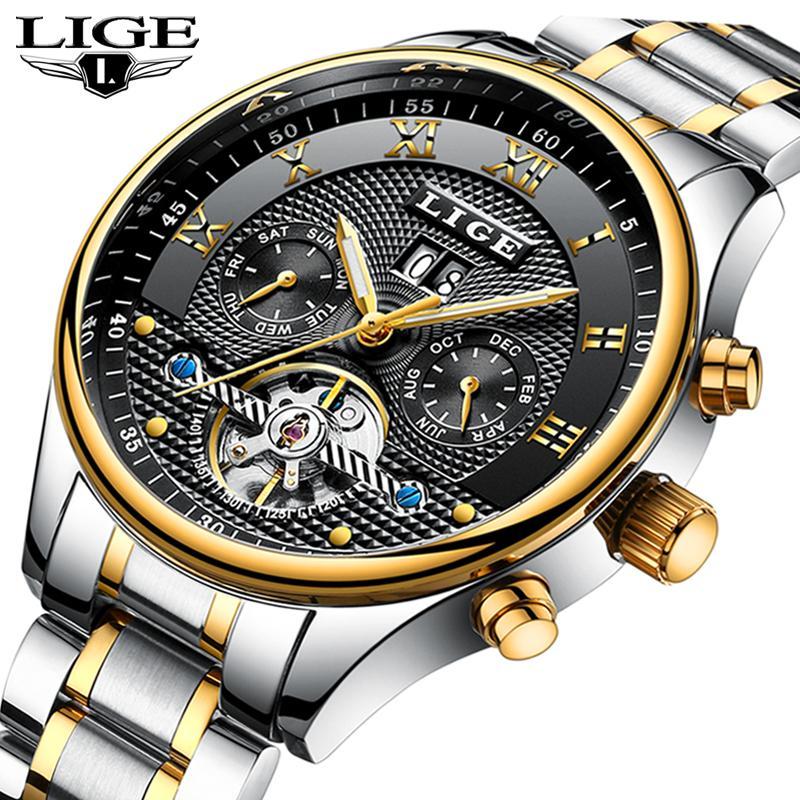 3cfc7b2c479 Compre LIGE Mens Relógios Top Marca De Luxo Homens Moda Esporte Relógio  Mecânico Relógio Analógico Automático À Prova D  Água Relogio Masculino +  Caixa De ...