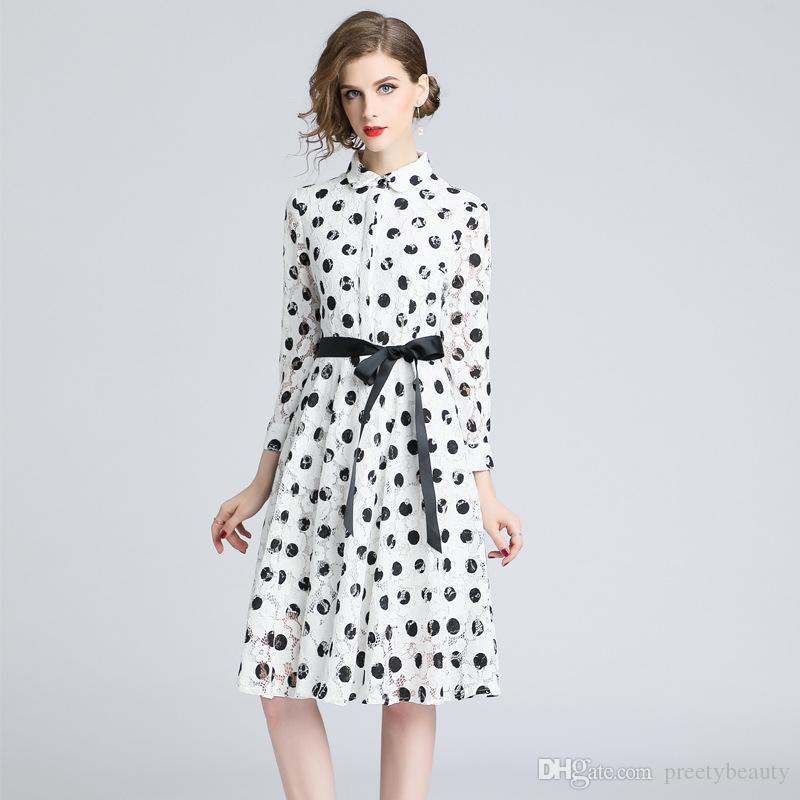 a93a642b9517 2019 Formal Lace Dresses Women Party Shirt Dress Long Sleeve Slim Black  White Polka Dot Tunic A Line Dresses From Preetybeauty, $82.1 | DHgate.Com