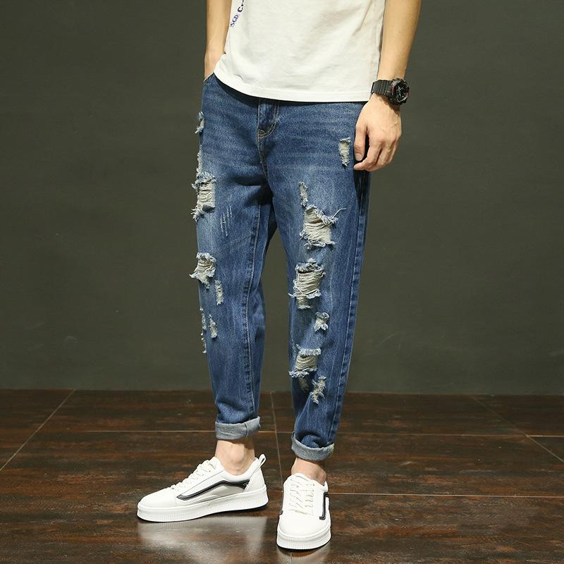 bcd6bf04ab8 2019 Mens Super Skinny Stretch Denim Biker Skinny Jeans 2019 Spring Summer  Casual High Street Hole Destroyed Loose Pants From Charle
