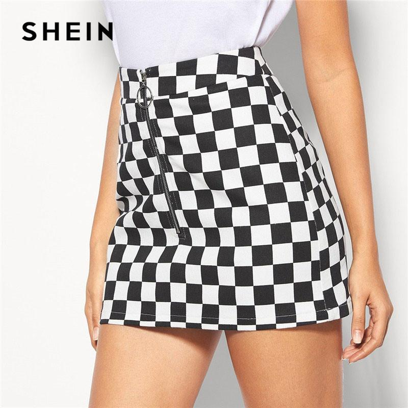 57ceee7027 2019 Shein Black And White Lady Casual O Ring Zip Fly Checkered Mini ...
