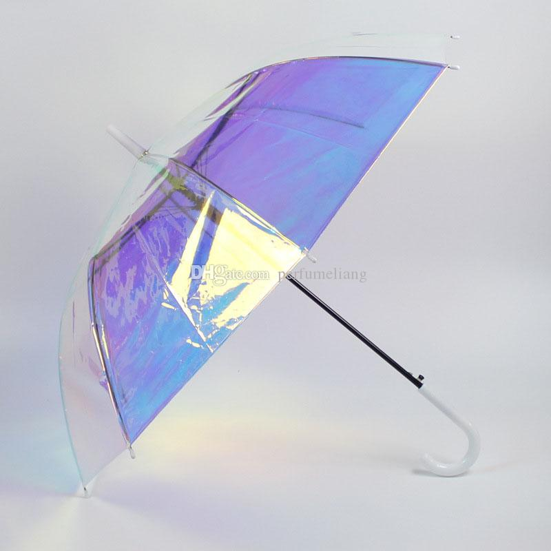Transparent Umbrella Magic Laser Color Long-handle Windproof Parasol Adults Advertising Gifts Umbrella for Women Girls ZC0169