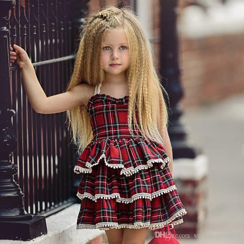 e187251e86c19 2019 Girl Dress INS 2019 Summer Kids Skirt Girls Lace Strap Dress Baby Tartan  Plaid Printed Fluffy Cake Skirt Princess Dress Q53 From Xunyangtrade01