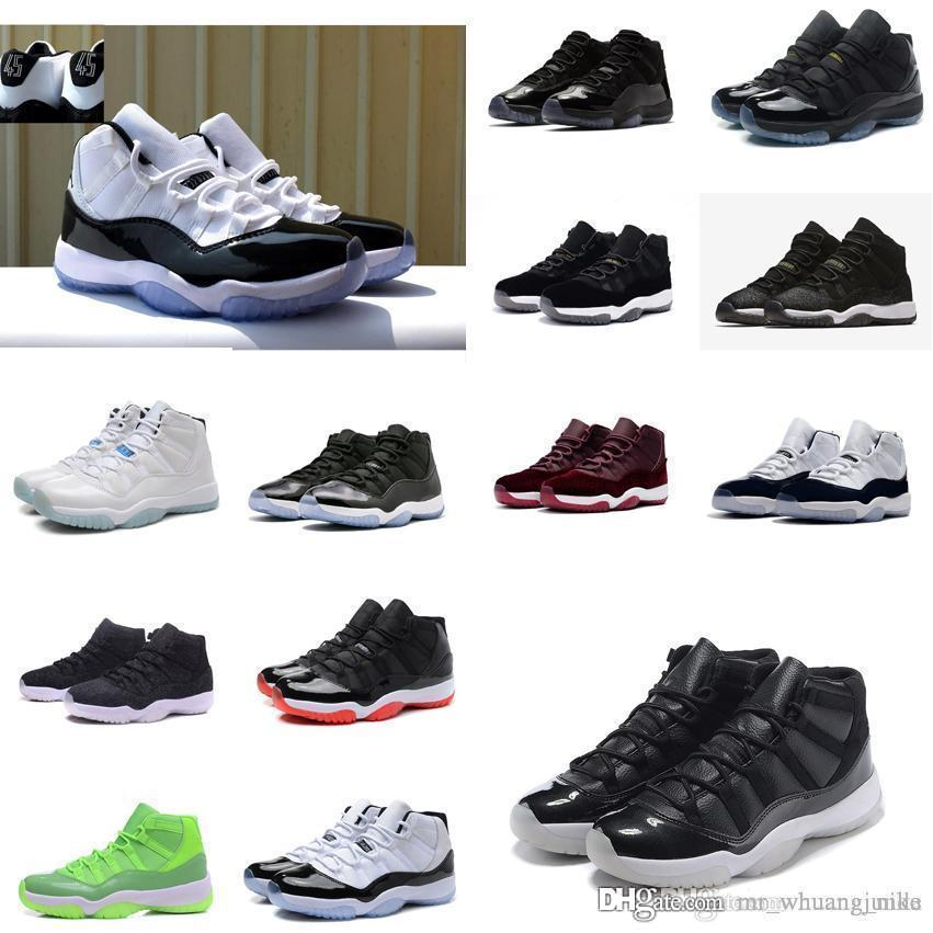 875194380982 Cheap Cheap Women Jumpman 11 Basketball Shoes 11s Concords 45 Prom Night  Black Blue Youth Kids Boys Girls J11 Air Flights Sneakers Boots for Sale