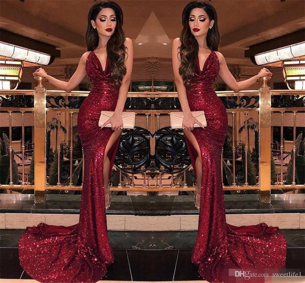 2019 Burgundy V Neck Sequins Mermaid Prom Dresses Sexy High Slits Vestidos De Fiesta Sweep Train Formal Long Evening Party Prom Gowns
