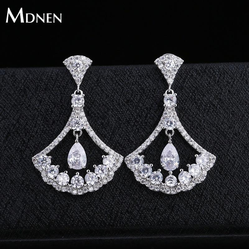 MDNEN Trendy 925 Silver Needles Zircon Sector Stud Earrings Silver 925 Water Droplets Cubic Zircon Stud Earrings Women Jewelry
