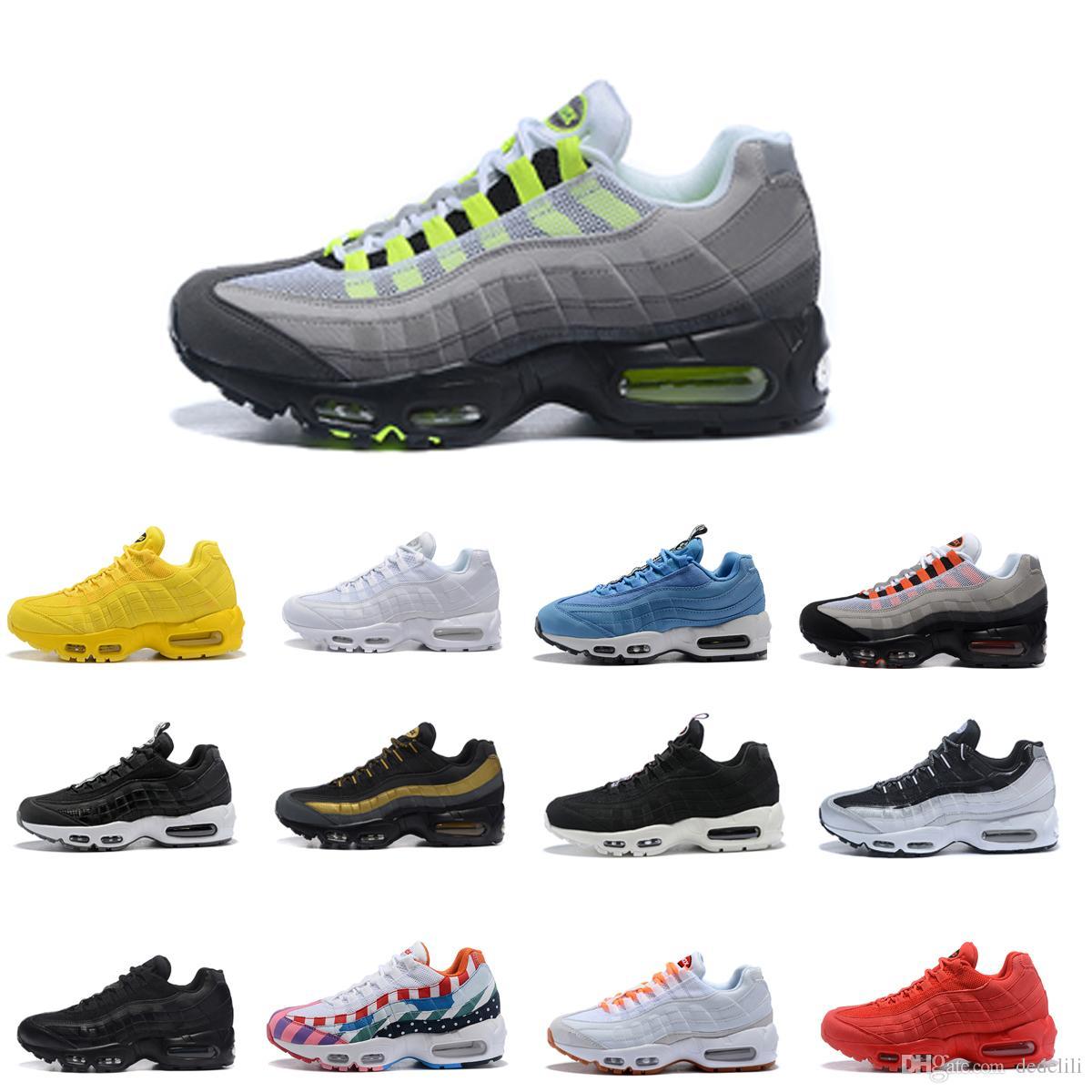 671311b1c2f2d Acheter Nike Air Max 95 Airmax 95 Hommes Rétro 95 OG Coussin Marine Sport  Haute Qualité Chaussure 95s Bottes De Marche Hommes Chaussures De Course  Coussin ...