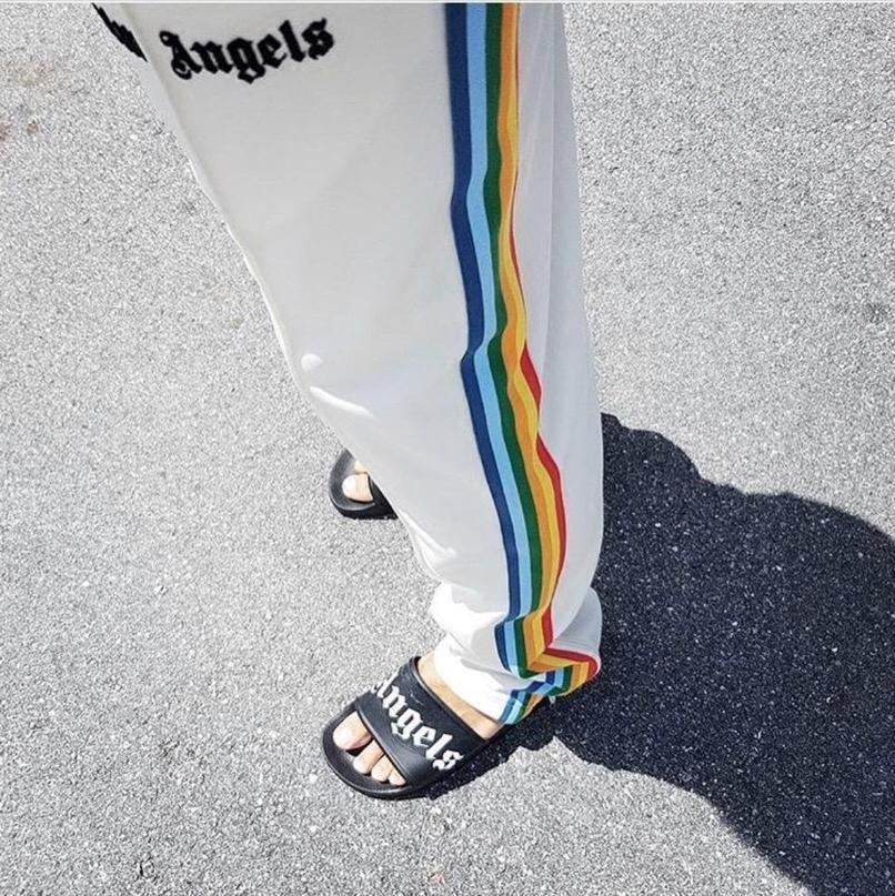 PALM RAINBOW TRACK PANT Three Colors Rainbow Directly Panelled Cylinder Men And Women Fashion Long Pants HFWPKZ039