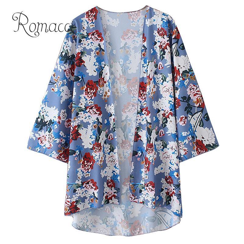 2c646534d 2019 Romacci 2019 New Summer Women Chiffon Kimono Floral Print 3/4 Sleeve  Sunproof Cardigan Coat Boho Beachwear Bikini Cover Ups From Cardigun, ...