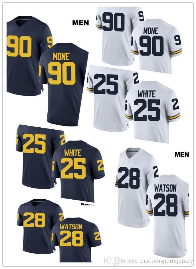 844481990 Customized 28 Brandon Watson Michigan Wolverines 25 Brendan White 90 Bryan  Mone Stitched College Football Custom White Navy Jerseys UK 2019 From ...
