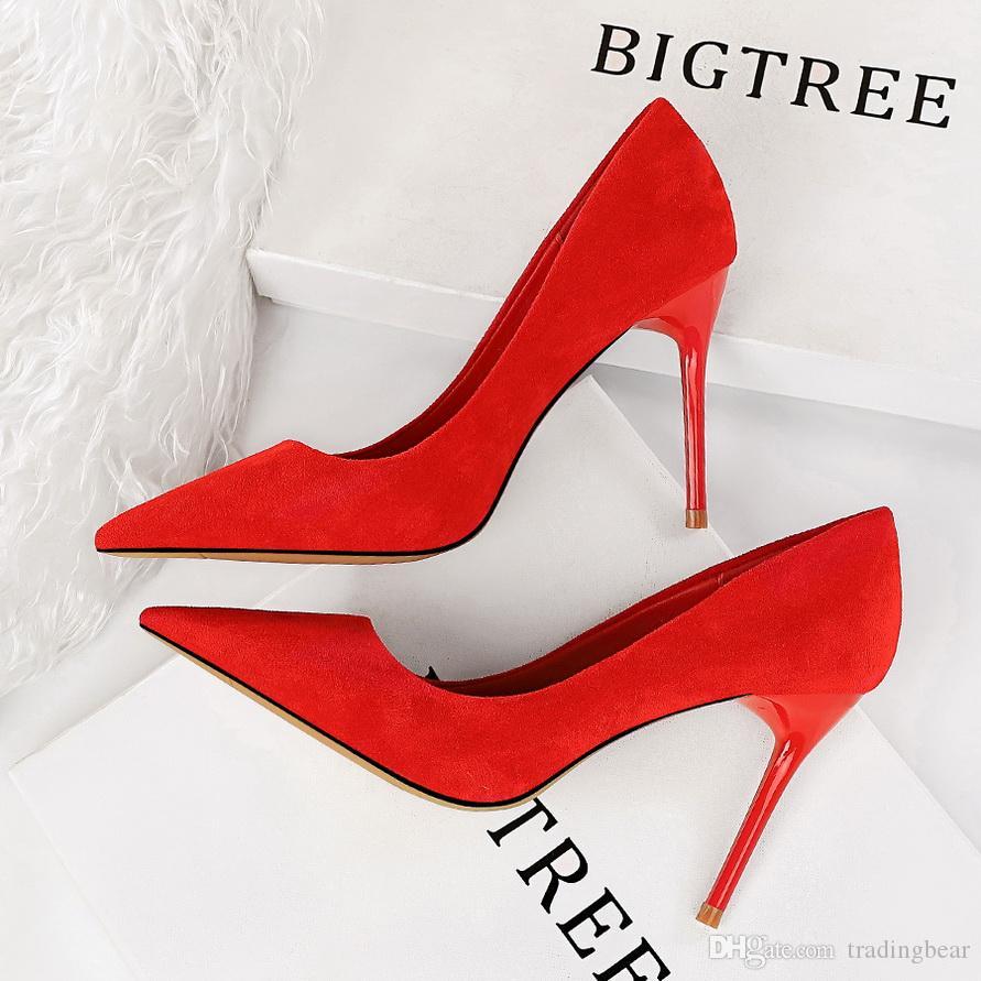 41 42 43 düz renk sivri burun ince topuk elbise ayakkabı kadın tasarımcı pompaları kutusu ile birlikte gelir Artı boyutu 34 ila 40