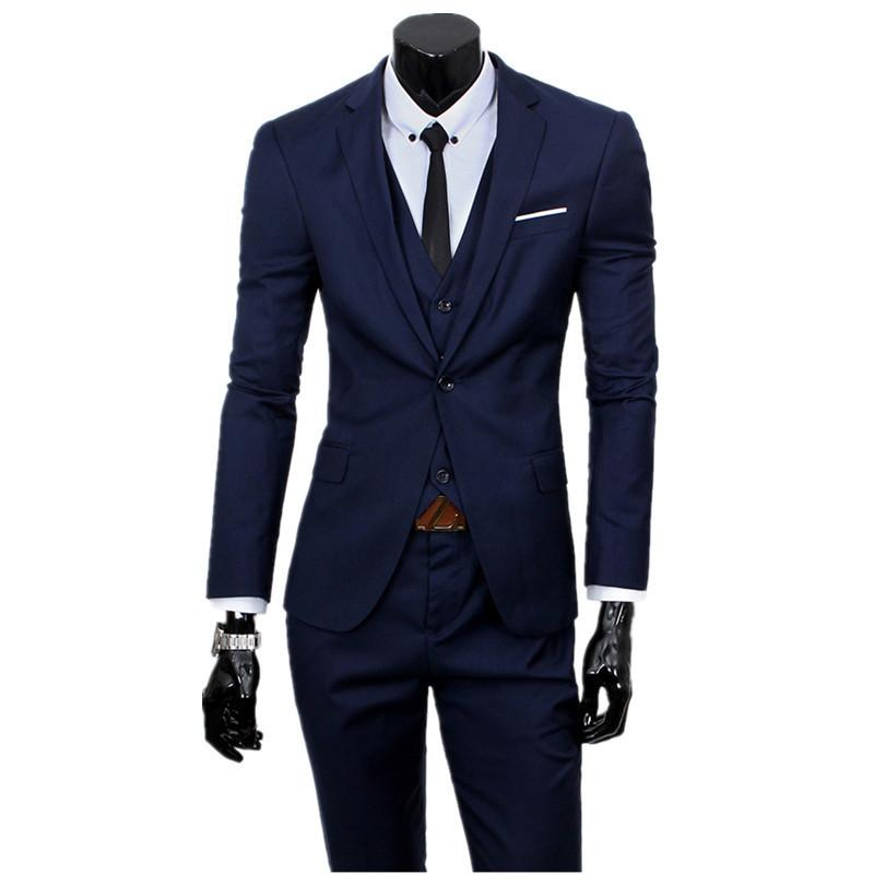 Compre Conjuntos De 3 Unidades Blazers Chaqueta Pantalones Trajes De Chaleco    Boutique Casual Para Hombre De Negocios Novio Boda Traje De Abrigo  Pantalones ... 99ac192c58b