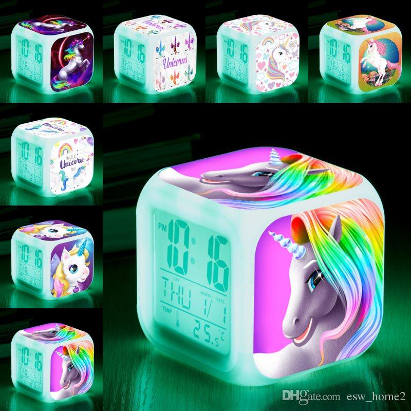 Unicorn alarm clocks colorful LED square clock student creative gifts  discoloration small alarm clock Kids Toys Party Favor