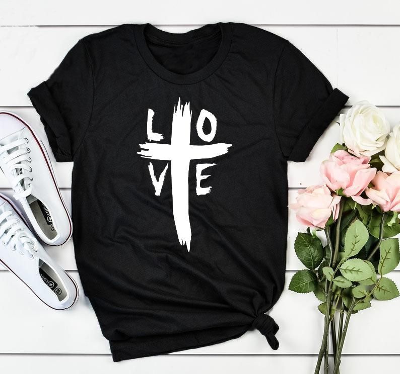 74566b054 LOVE Cross T Shirt Distressed Cross Graphic Tee Casual Christian Faith  Slogan Grunge Shirt Lover Faith Bible Vintage Girl Shirts Fun Tee Shirt  Shop Online T ...