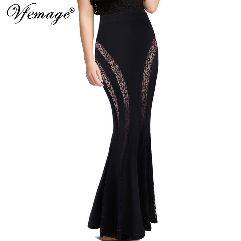 62ed290da9f 2019 Vfemage Womens Sexy Elegant Lace Inset Elastic High Waist Evening Party  Club Fitted Bodycon Mermaid Maxi Long Pencil Skirt 133 C19040401 From  Lizhang03 ...