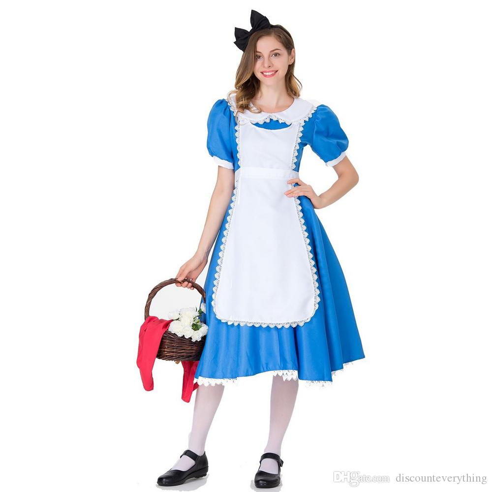 8ce1ec9ed Halloween Women Adult Anime Alice In Wonderland Blue Party Dress Alice Dream  Women Sissy Maid Lolita Cosplay Costume Groups Of 3 Costumes Cool Halloween  ...