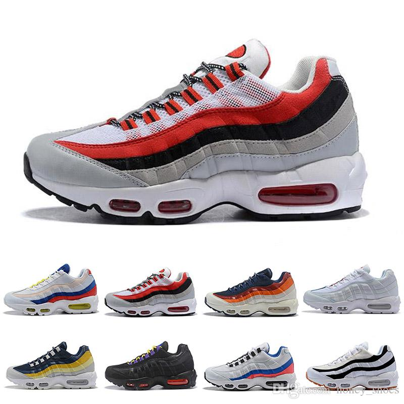 low priced b8992 b768d Großhandel Nike Air Max 90 95 97 98 270 Chaussures OG QS 20th Anniversary 95  Plus Kissen Herren Damen Ultra Laufschuhe 95s Rainbow Schwarz Weiß Pfirsich  ...