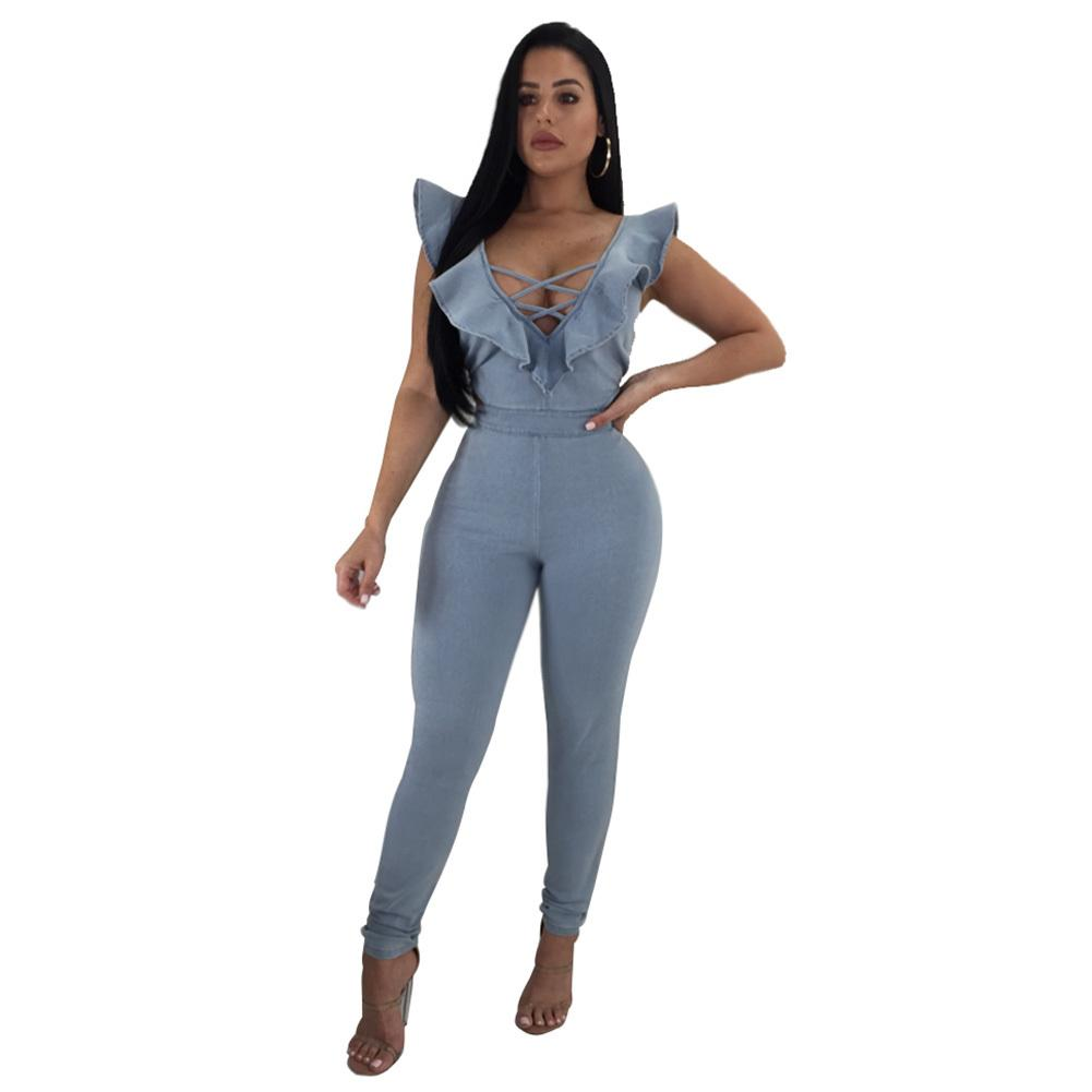 97d7f5097ad4 2019 Sexy Women Denim Jumpsuit Crisscross V Neck Ruffles Sleeveless Skinny Jeans  Overalls Cutout One Piece Playsuit Romper Light Blue From Bibei02