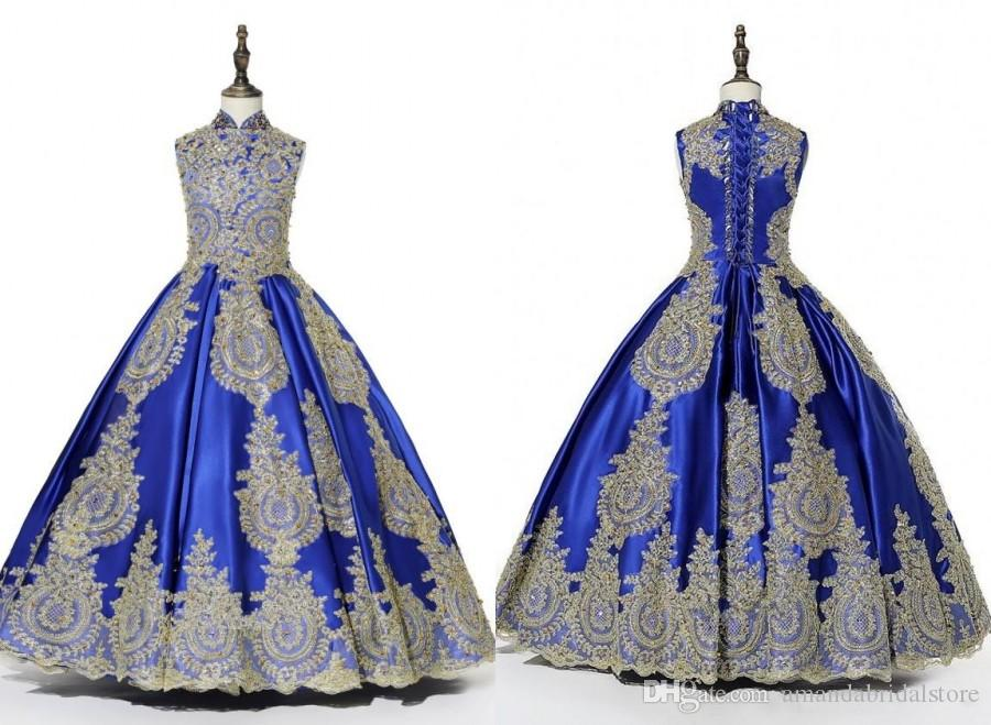 2019 Real Photo Royal Blue Gold abbelliscono ragazze Pageant Abiti Collo alto Ball Gown Paillettes in rilievo Bambini Prom Party Party Flower Girls Dress