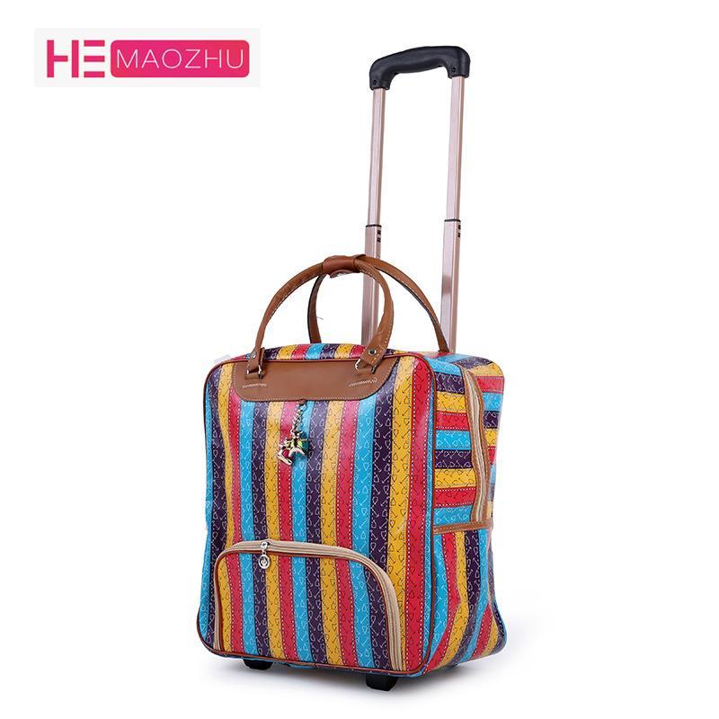 fb8329d0506 Compre Nueva Moda Caliente Para Mujer Trolley Equipaje Rolling Suitcase  Brand Casual Stripes Rolling Case Bolsa De Viaje Con Ruedas Maleta Para  Equipaje A ...