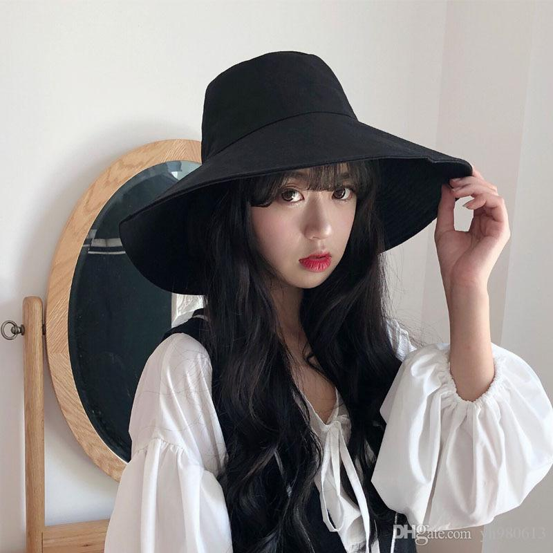 Europe and the United States solid color big fisherman hat female spring and summer folding sun hat sun visor Korean version of the wild hat