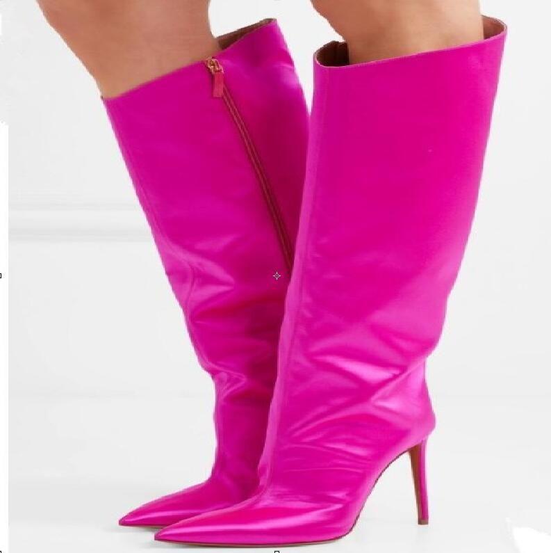 559204d3a Compre Calzado De Moda En Toda Clase De Colores Zapatos De Cuero Partidos  Hasta La Rodilla Zapatos Con Punta Estrecha Tacones Finos Decoración De  Metal ...