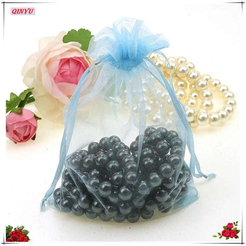 Hot sell Drawable Organza Bags Wedding Gift Bags 7X9 small Jewelry Packaging Bag tulle fabric Organza Sheer Bags 6Z