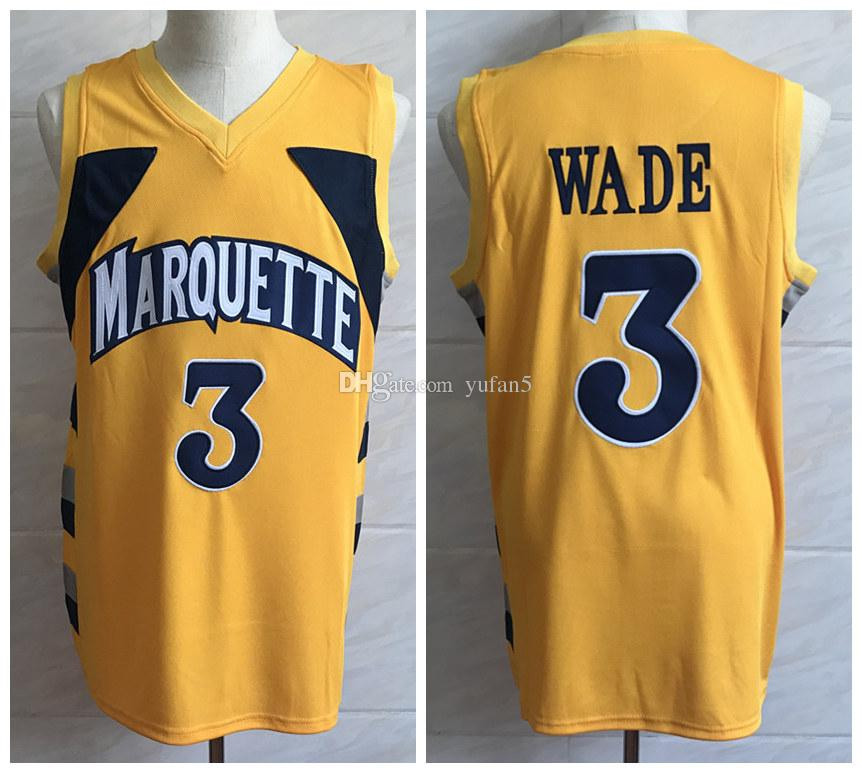 843bd007455 2019 Dwyane Wade #3 Marquette Golden Eagles College Yellow Retro Classic Basketball  Jersey Mens Stitched Custom Number And Name Jerseys From Yufan5, ...