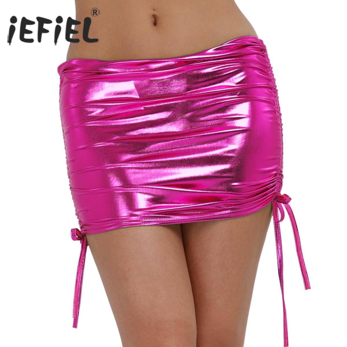 1cf175323 Mini iEFiEL Mujeres Sexy Pole Club de baile Ropa corta de charol Micro Mini  faldas Falda de baile Discoteca Club
