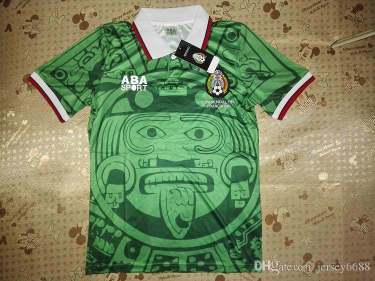 b2deded39 2019 Top Thailand Quality Retro Version 1998 Mexico World Cup Classic Vintage  Mexico Retro Soccer Jersey HERNANDEZ Football Shirt From Jersey6688