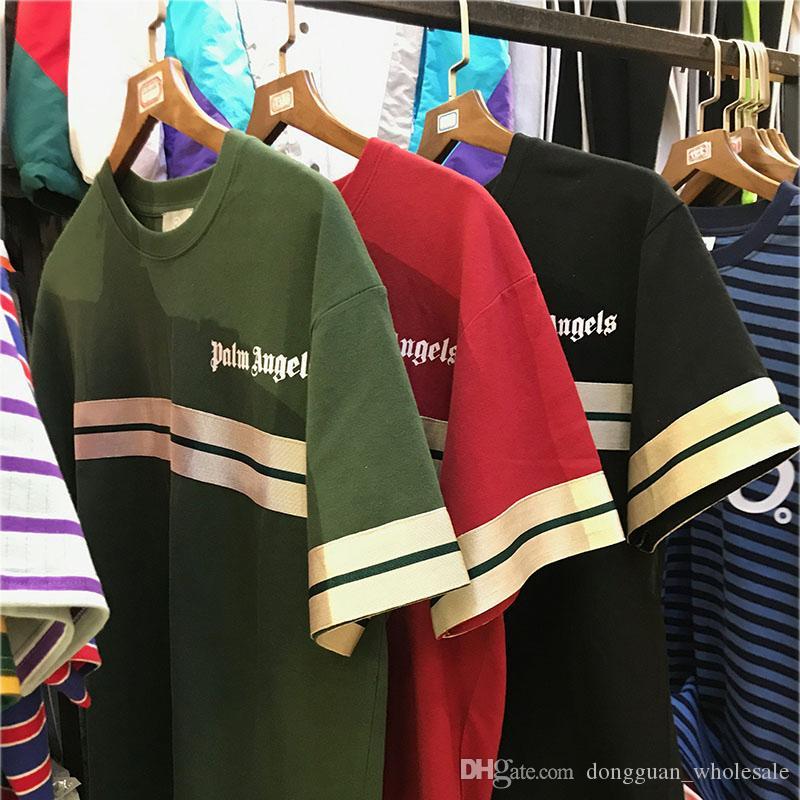 Compre 2019 Nueva Palm Angels Camiseta Streetwear Skateboard Striped Palm  Angels Top Tee Hombres Mujeres Casual Negro Verde Palm Angels Camisetas A   19.01 ... e24e25adbaf5c