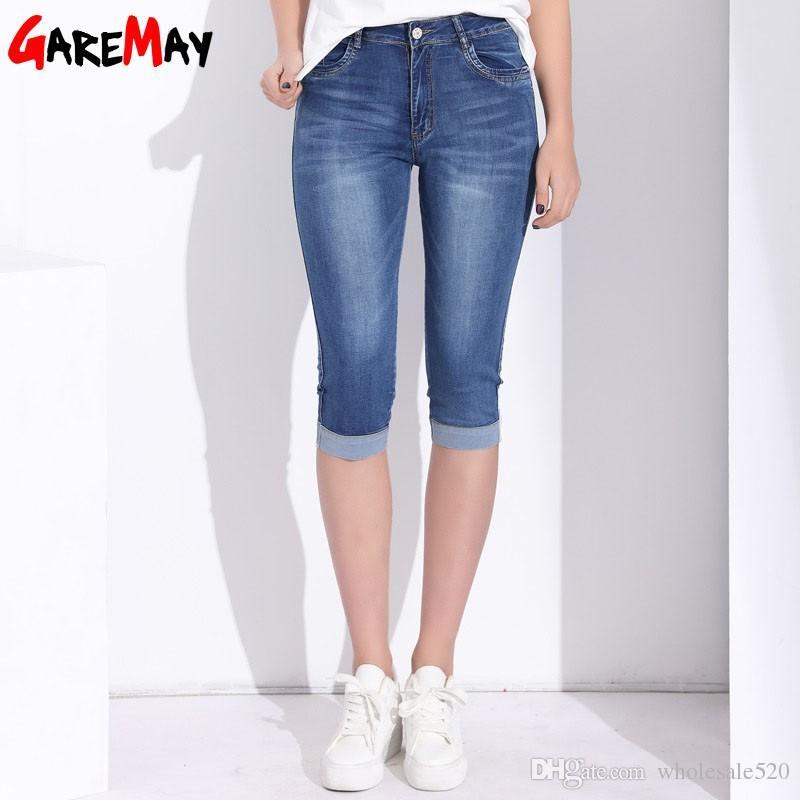0b0b1a77a8 Compre GAREMAY Tallas Grandes Skinny Capris Jeans Mujer Estiramiento Hasta  La Rodilla Pantalones Cortos De Mezclilla Pantalones Vaqueros Pantalones  Mujeres ...