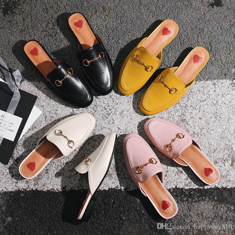 b253f2e3714c Compre Frete Grátis Moda Feminina Sandálias Designer Marca New Preto Real  Couro Real Princetown Sapatos Muller Chinelos Muller Sapatos Vêm Com Caixa  De ...