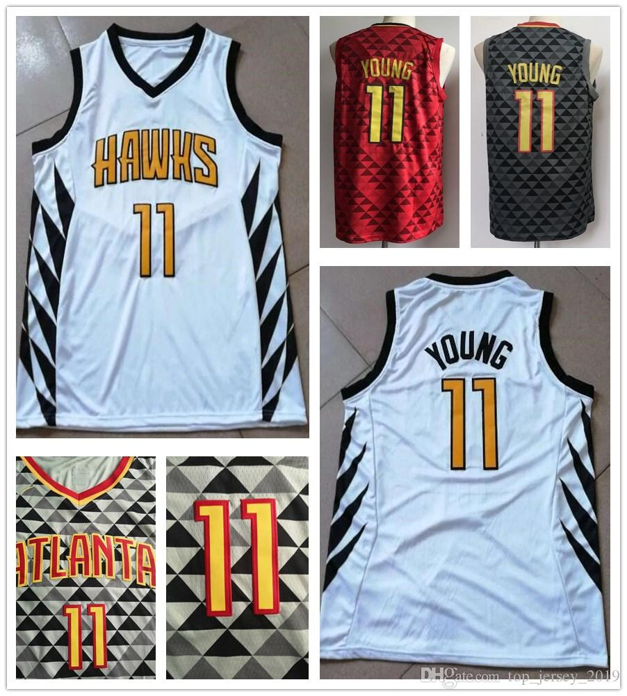 d1201c1fc 2019 New City Edition White Trae Young Jersey Men Red Black Stitched ...
