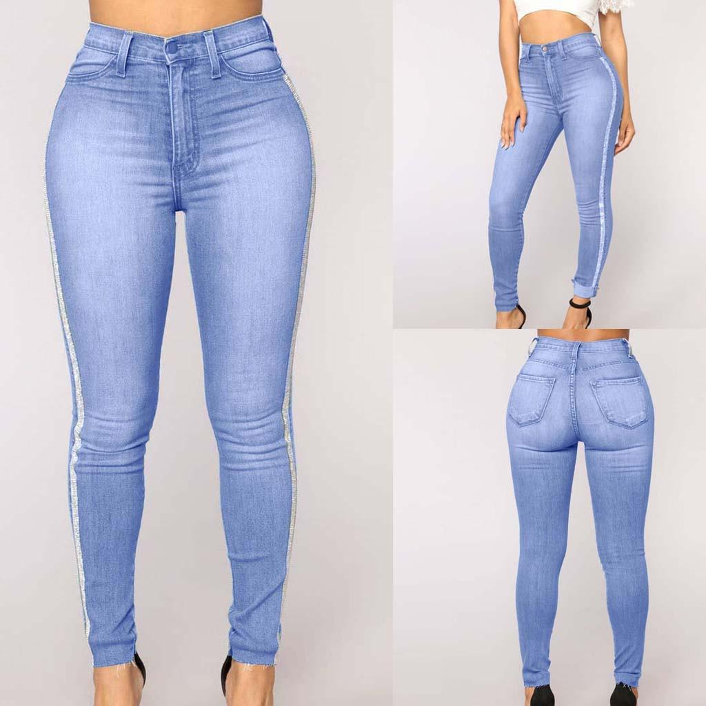 85ec012df7 Compre Moda Para Mujer Diario De Talle Alto Denim Jeans Estiramiento  Pantalones Delgados Longitud De Los Pantalones Vaqueros Mujeres Cintura  Elástica Cadera ...