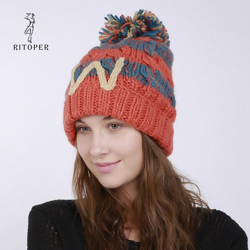 a4f906cdb16 RITOPER Female Winter Hat Knitted Warm Cap Hat By Hand Wool Weaving Color Mixing  Beanies Thicken Fashion Crimping 2018 New Women Trilby Mens Hats From Yongq  ...