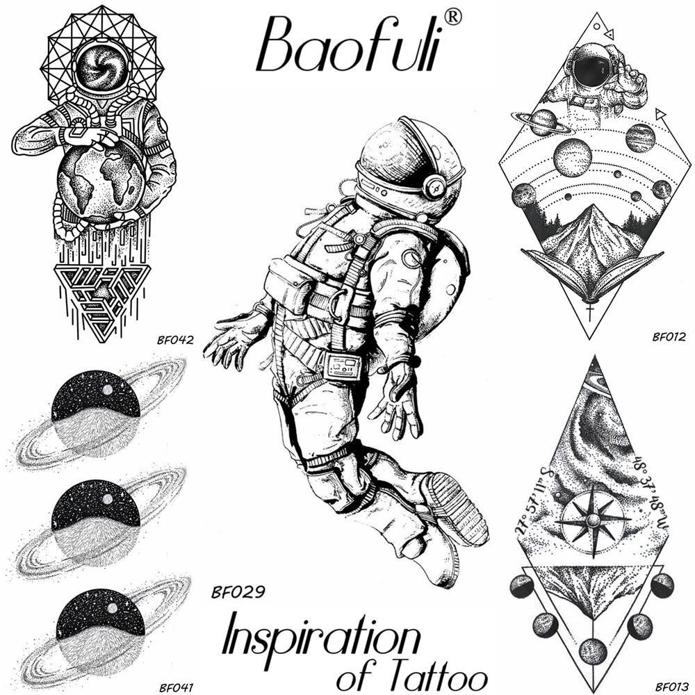 baofuli diy men temporary universe cosmonaut tattoo black waterproof fake tattoo transferable