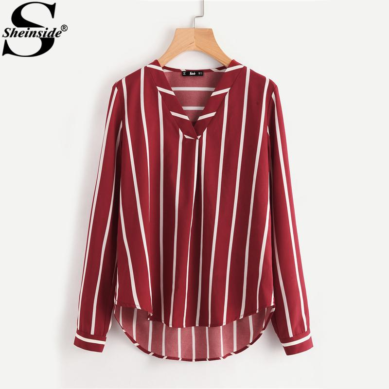 a8fa572bc2 2019 Sheinside Red Striped Work Shirt V Placket Curved High Low Office  Women Long Sleeve Casual Tops Summer Ladies Blouse C19041201 From Shen8407,  ...