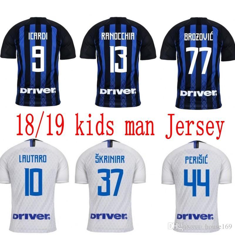 sports shoes 80537 bfcb7 kids kit football jerseys ICARDI LAUTARO Martinez Inter Milan man soccer  jersey PERISIC NAINGGOLAN POLITANO 18 19 champion league shirt