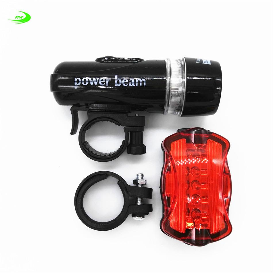 Lots Waterproof 5 LED Lamp Bike Bicycle Front Head Light+Rear Safety Flashlight
