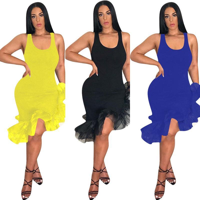 10d8e55bb 2019 Women Latin Dancing Party Sexy Vest Skirt Mid Calf Length Ruffles Dress  Irregular Organza Fishtail Hem Sleeveless Strap Dresses 2019 C425 From ...