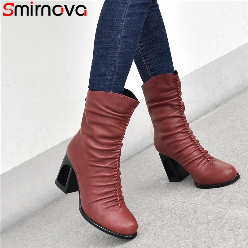Smirnova 2020 new arrival ankle boots women genuine leather unique high heels office shoes ladies pleated autumn winter boots