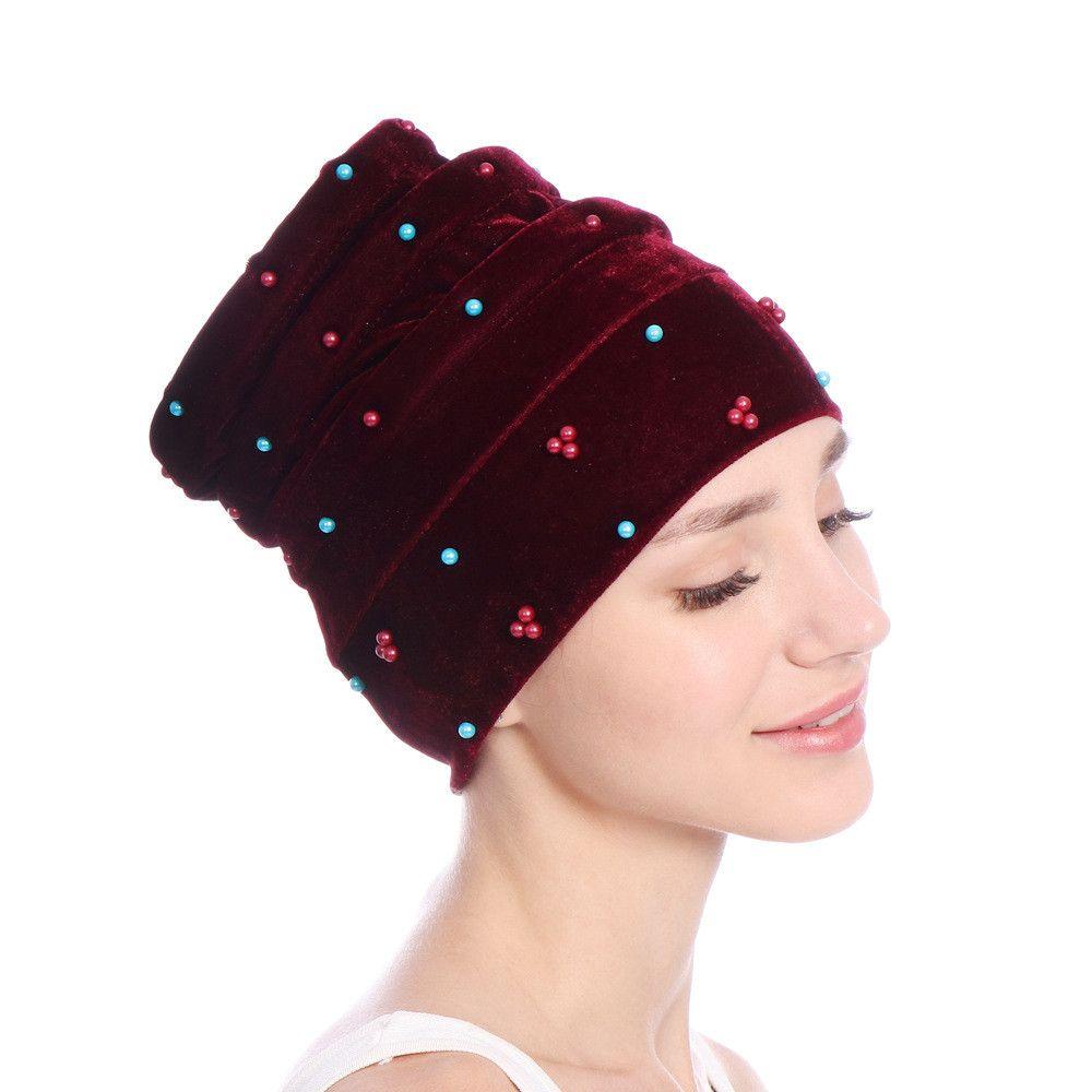 ee01ac632 Women Velvet India Hat stretch Winter Muslim Ruffle Cancer Chemo Beanie  Scarf Turban autumn Winter Two Tail Wrap Cap