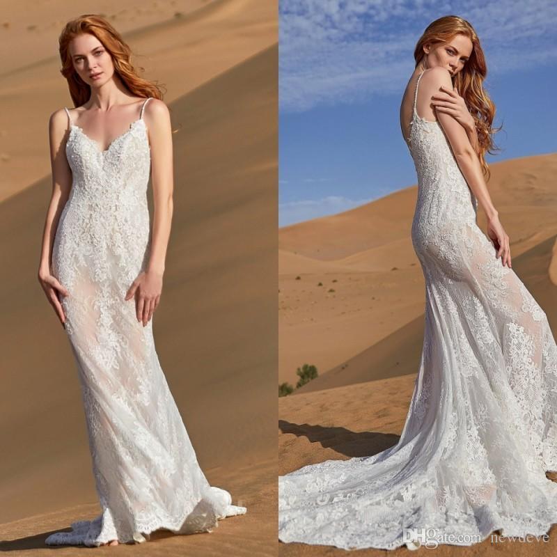 1694216c28e0a CocoMelody 2019 Wedding Dresses Sexy Spaghetti Straps Sleeveless Backless  Lace Bohemian Bridal Gowns Mermaid Wedding Dress Robe De Mariée Wedding  Dresses ...