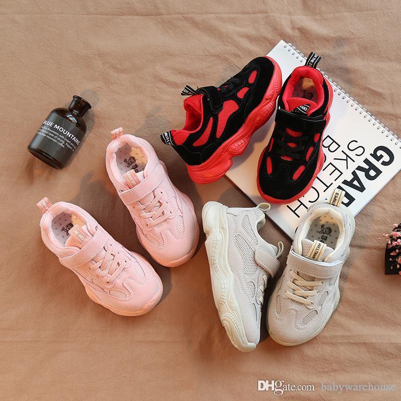 50eb58323b86 Acheter Bébé Enfants Chaussures Vente Chaude De Mode Enfants Sneakers  Enfants Chaussures De Basket Ball Net Surface Respirant Filles Garçons  Sport ...