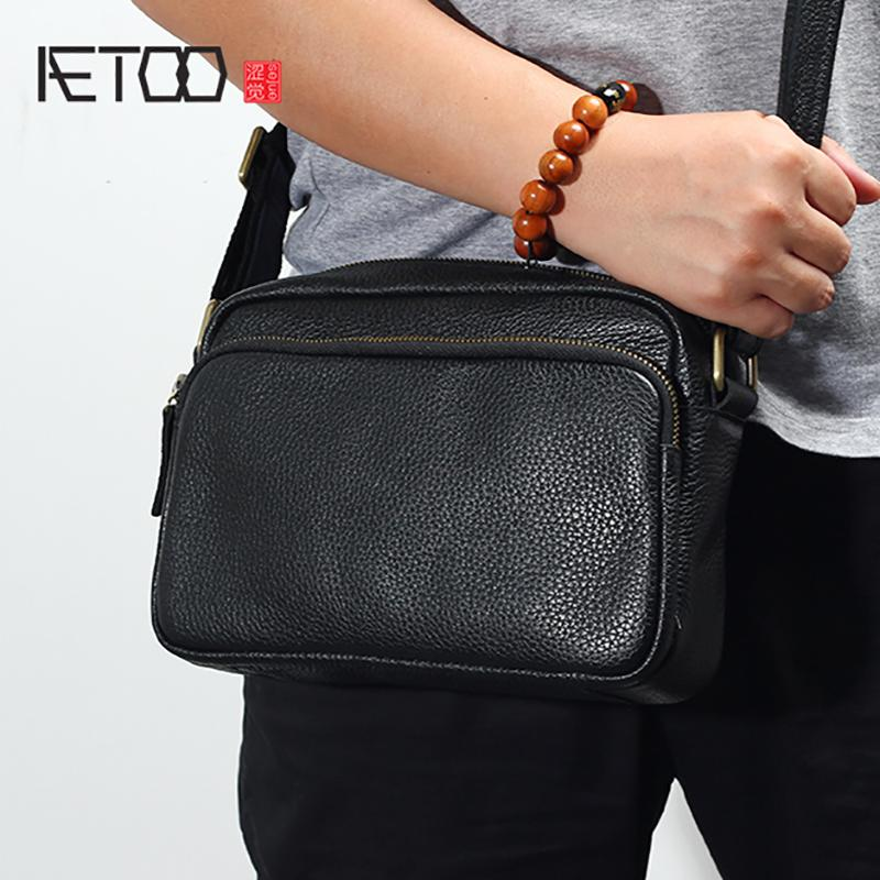 24782910aac AETOO New Male bag leather shoulder bag male head layer cowhide casual men  mini oblique Cross small