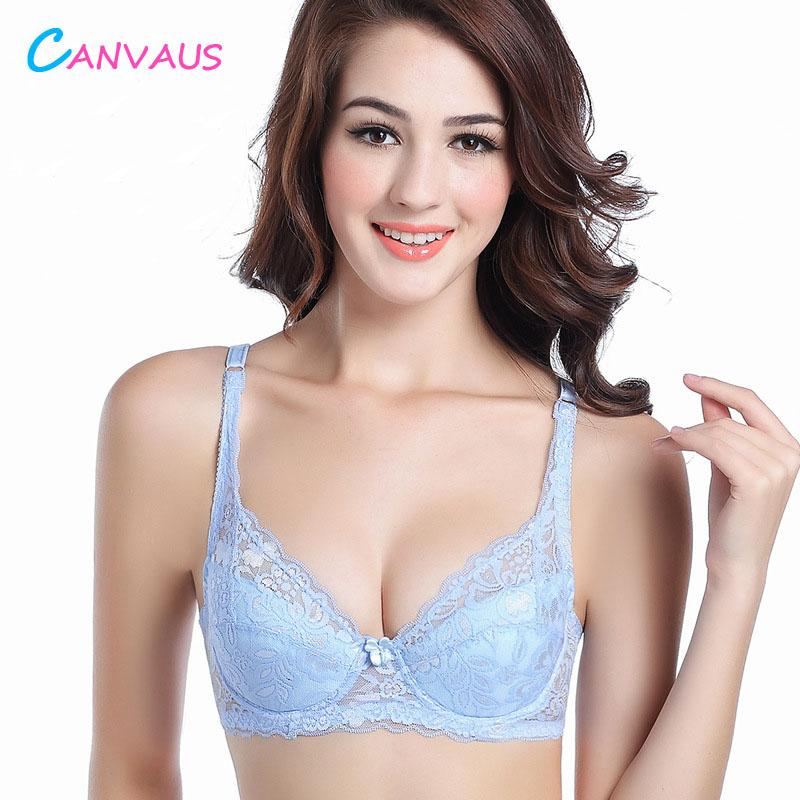 db4543e4c9f2f Canvaus Sexy Dentelle Push Up Gros Seins Soutien-gorge Doux Confortable  Ultra-Mince Soutien-Gorge Respirant Grand Taille Seamless 3/4 Coupe Femmes  ...