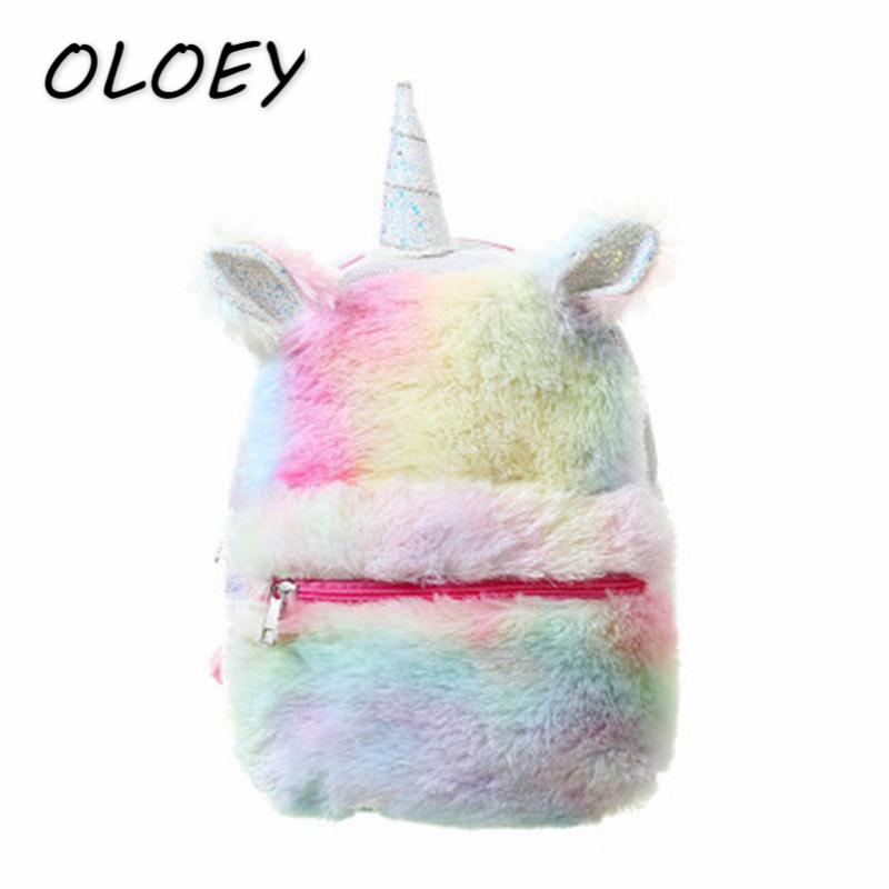 Women Fur Plush Unicorn Backpacks Kids Large Capacity Back Bags Young  Student School Bookbags Girls Cute Travel Bags  Wheeled Backpacks Leather  Backpacks ... 46743399db